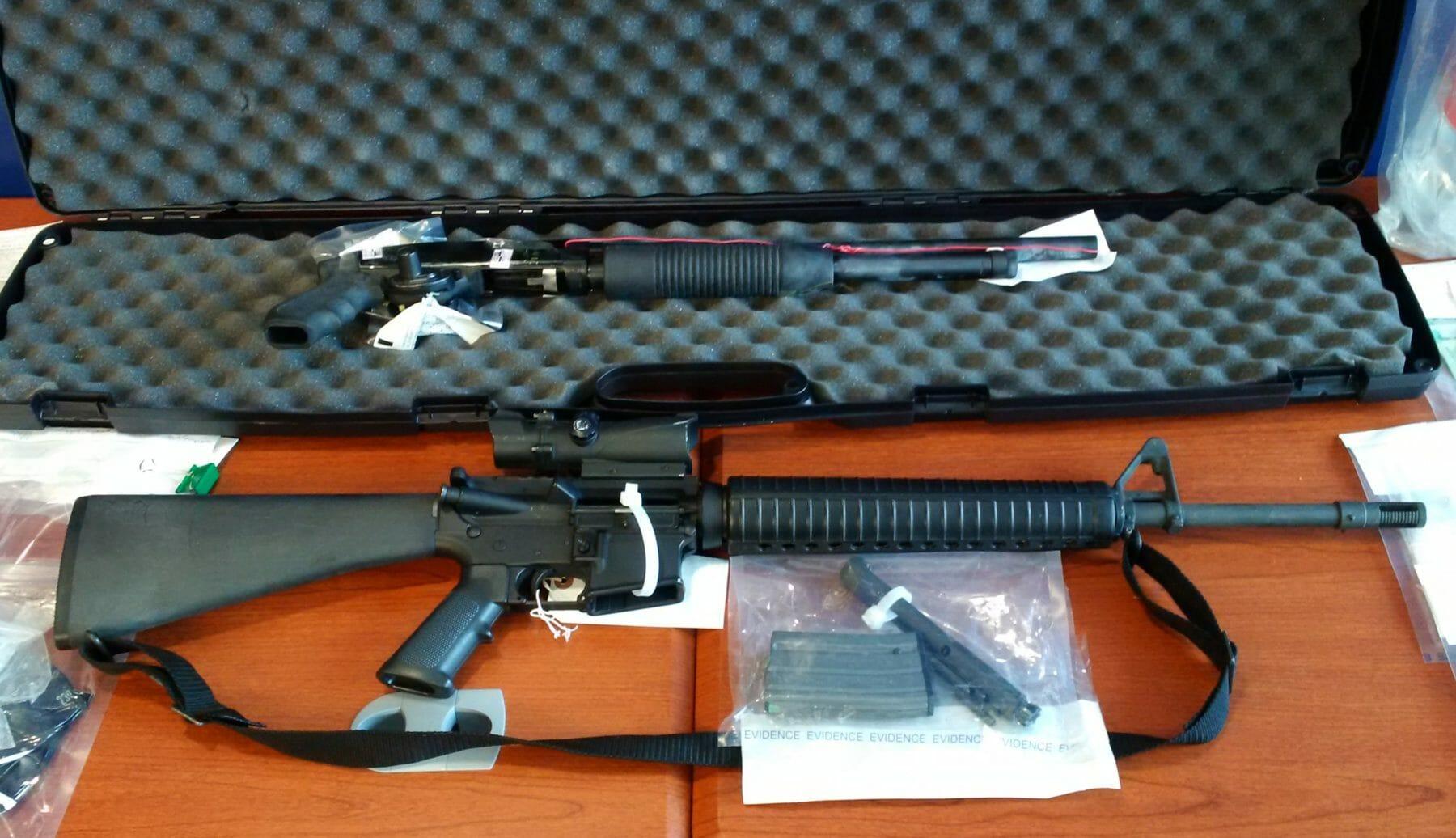 Seized AR-15 and Shotgun