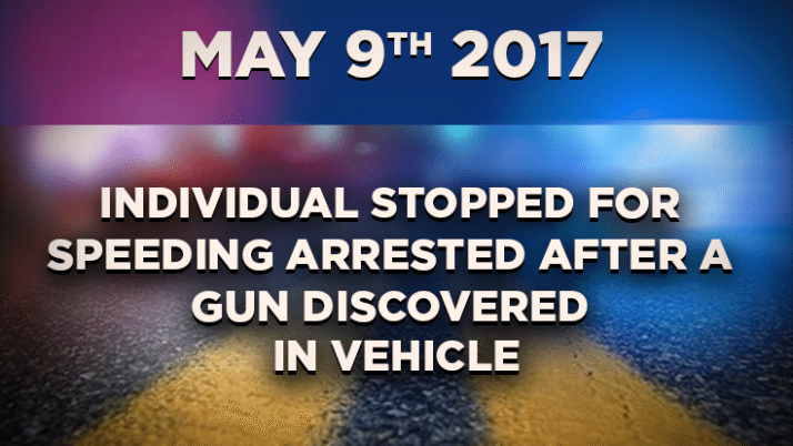 Individual Stopped for Speeding Arrested After a Gun Discovered in Vehicle